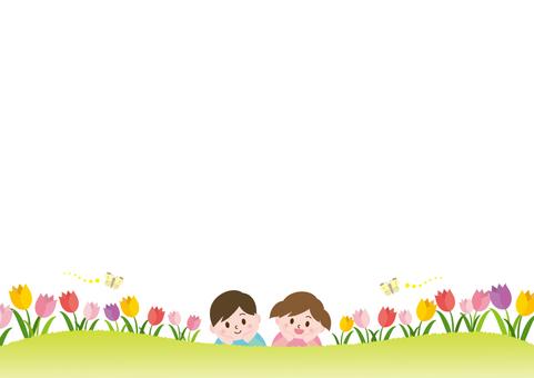 Tulip field and children _C01