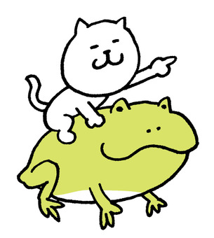 A cat riding a frog