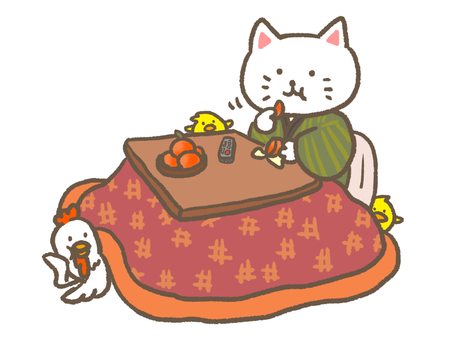 Cat, chicken, chick and kotatsu