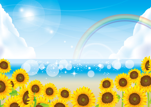 Sea and sunflower and rainbow background