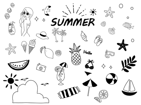 Handwritten summer illustration set 2