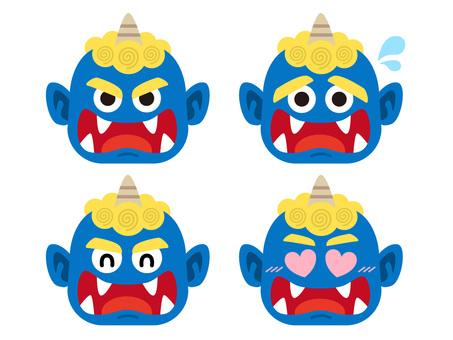 Facial expression illustration set of blue demon