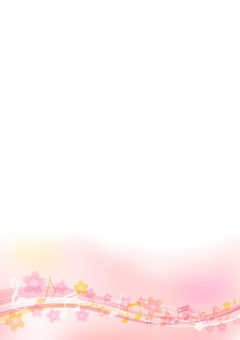 Pink cherry blossom and musical note background material vertical frame