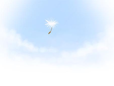 민들레 솜털과 푸른 하늘