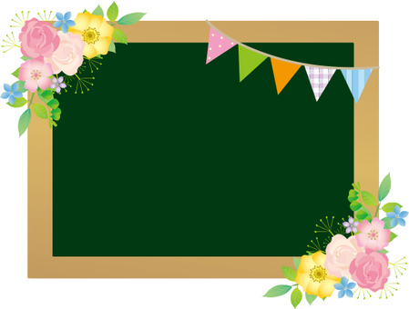 Flower and flag blackboard