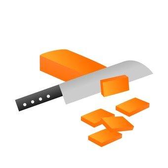 Cut carrot strips