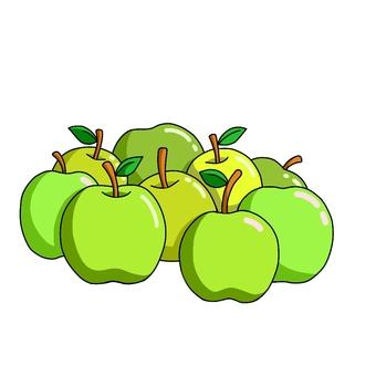 많은 푸른 사과