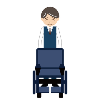 (Nursing care series) Men who press wheelchairs