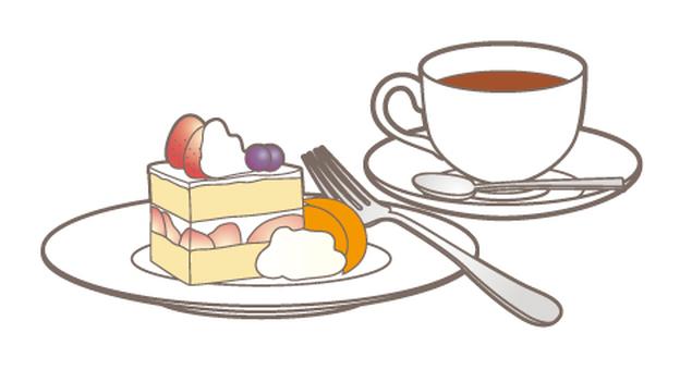Cake set _ tea _ strawberry cake