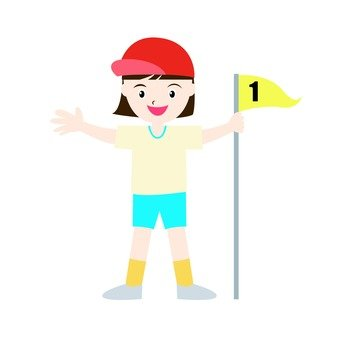 A girl with number flag