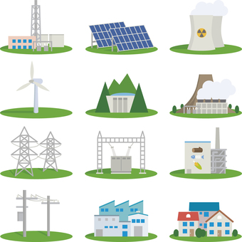 Icon set for power plant, power infrastructure, etc.