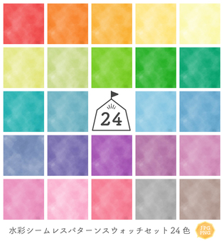 【For JPG / PNG】 Watercolor pattern set