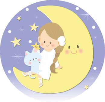 月と女の子