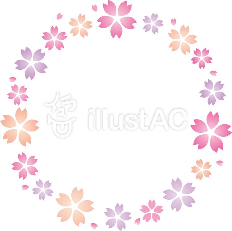 春の桜の花びらフレーム桜の花びらの輪イラスト No 1387714無料