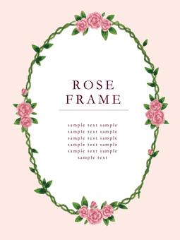 Watercolor rose frame
