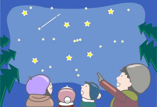 Winter starry sky viewing _ Family _ Background
