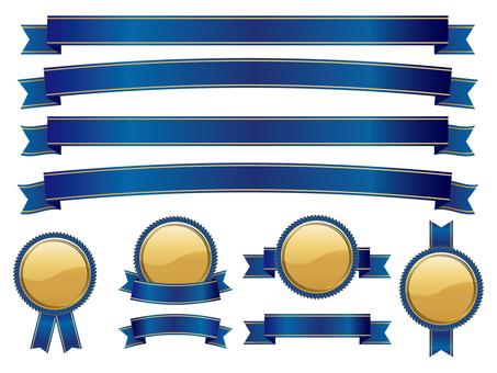 リボン&メダルセット 青ゴールド01