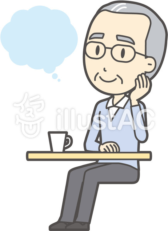 高齢ブルー男性-232-全身のイラスト