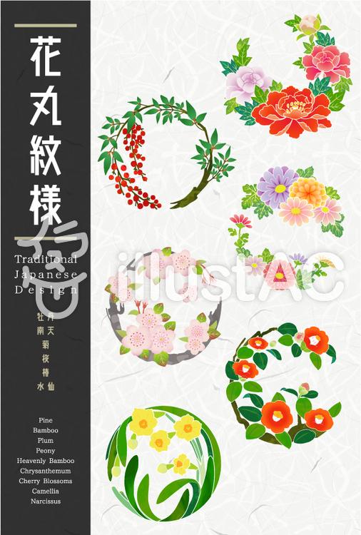 花丸紋様02(花尽くし)のイラスト
