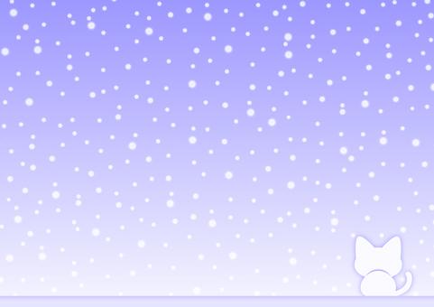 冬天的天空和貓背景材料