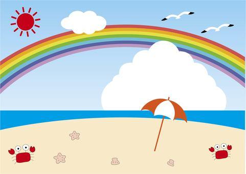 夏天的天空和海滩插画