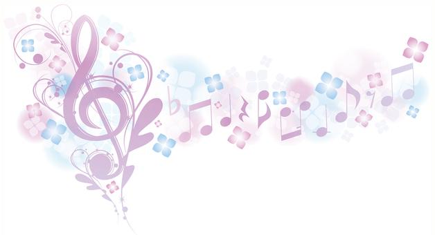 Elegant sound signs and notes during hydrangea rainy season