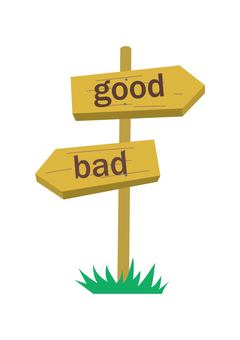 Road sign (wooden, good and evil)