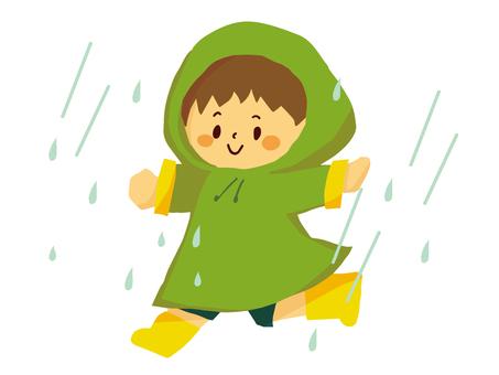 Child running in the rain