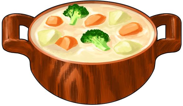Cream stew wooden pan Contoured