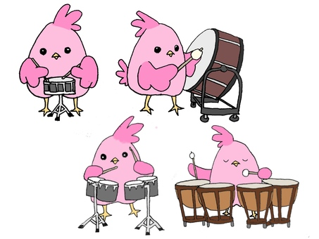 Birds and instruments 【Taiko drums / drums】