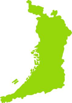 Osaka fu prefecture _ silhouette _ yellow green