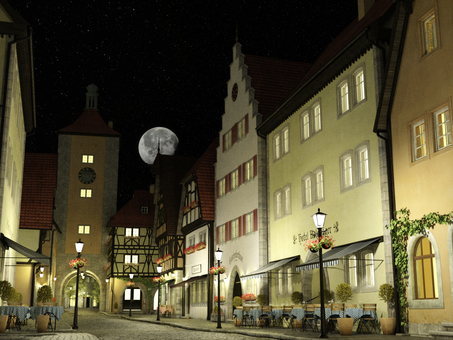 月夜の中世建築風の街