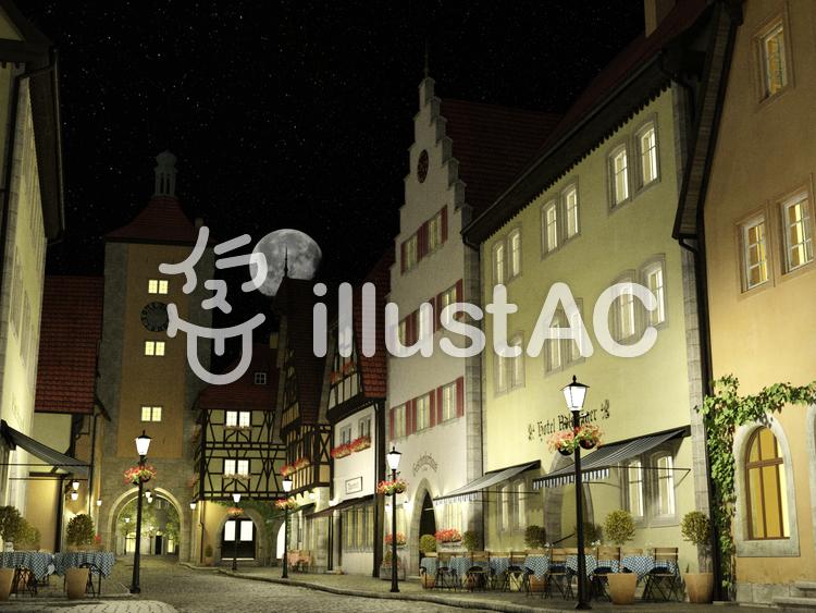 月夜の中世建築風の街のイラスト