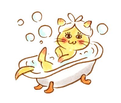 Cat hand-painted bath