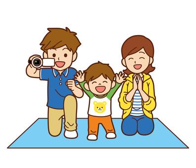 운동회 응원하는 가족 (배경 없음)