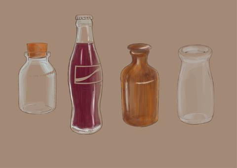 Hand drawn antique bottle 01 tea color