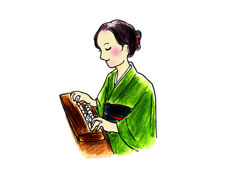 A woman playing Taishogoto