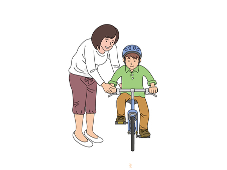 자전거 운동을하는 엄마와 아들 2