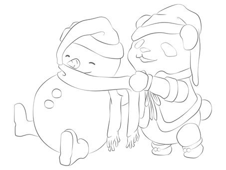 動物-パンダ・クリスマス 塗り絵