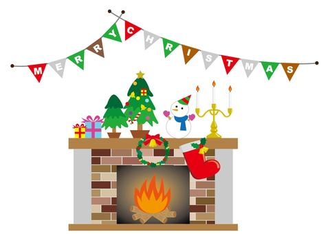 Christmas and fireplace and banner