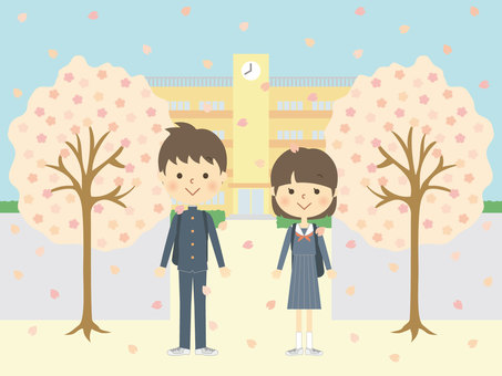 Cherry blossoms and middle school students