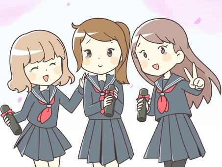 Girls students (graduation ceremony) up