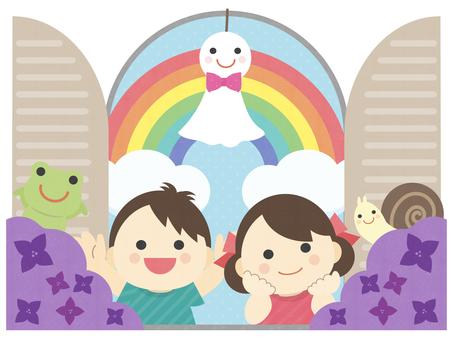 Rainy season, child, window