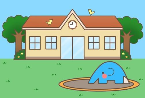 Nursery school · kindergarten (Orange roof + background) 1