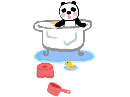 Cleaning panda bath