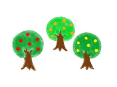 Three fruit trees