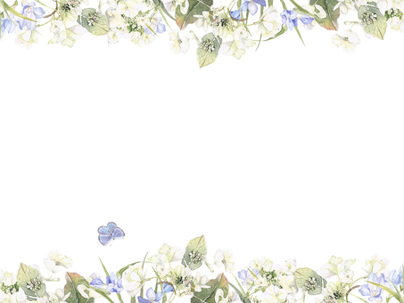 Flower frame 222 - white hydrangea and freesia