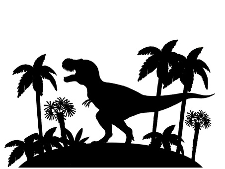 Tyrannosaurus landscape silhouette