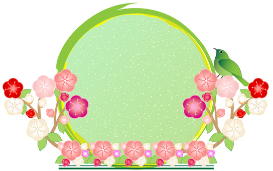 Plum ornament round frame 02