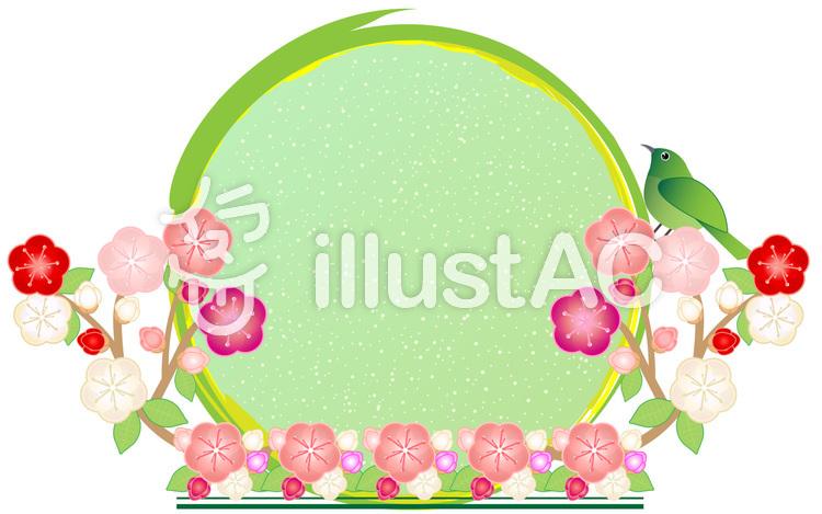 梅飾り丸フレーム02のイラスト